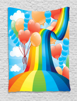 Rainbow Romantic Hearts Tapestry