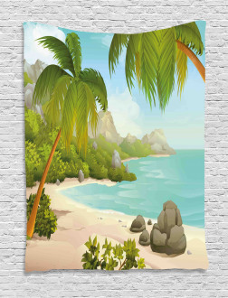 Palm Trees and Rocks Tapestry