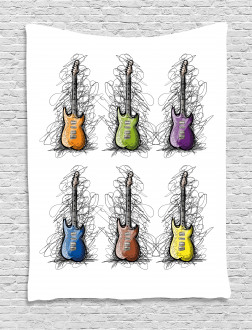 Guitar Collage for Teens Tapestry