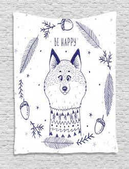 Fox with Hearts and Beam Tapestry