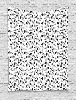 Funny Fish Bone Abstract Tapestry