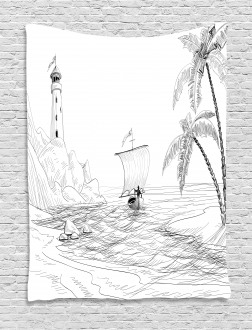 Sketch with Boat Palms Tapestry