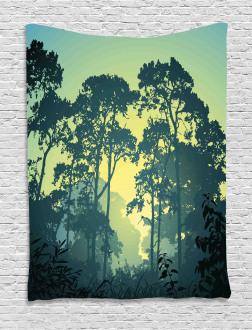 Mist Forest Trees Scene Tapestry