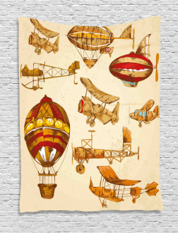 Vintage Baloons Planes Tapestry