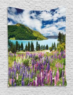 Lake Floral Petals Tapestry