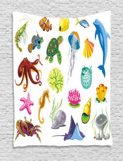 Sea Animals Octopus Fish Tapestry