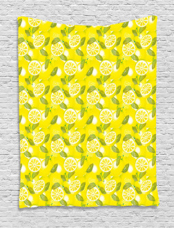 Fresh Lemons with Leaves Tapestry