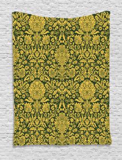 Baroque Flowers Motif Tapestry