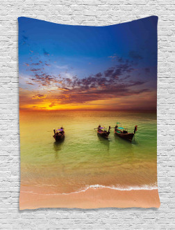 Thailand Boat in Ocean Tapestry