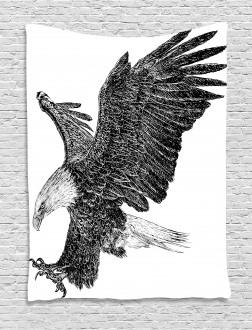 Bald Eagle Swoop Sketchy Tapestry