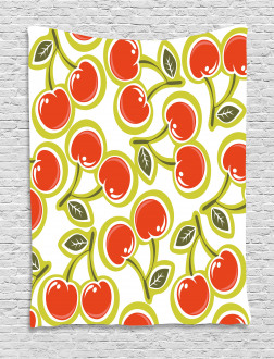 Cherry and Leaves Pattern Tapestry
