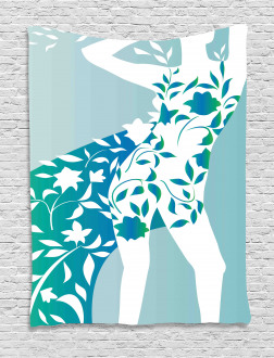 Girl Flower Petal Leaves Tapestry