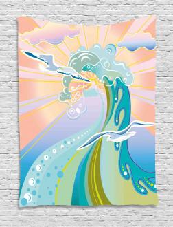 Cartoon like Waves Tapestry