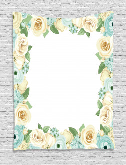 Flower Roses Leaves Tapestry