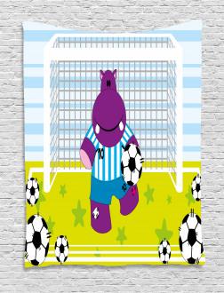 Goal Football Cartoon Tapestry