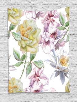Rose Petals Sakura Lily Tapestry