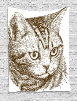 Portrait of a Kitty Hipster Tapestry