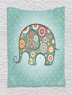Elephant with Flowers Tapestry