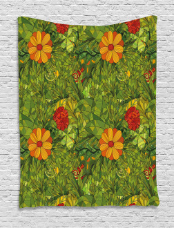 Fractal Retro Jungle Art Tapestry