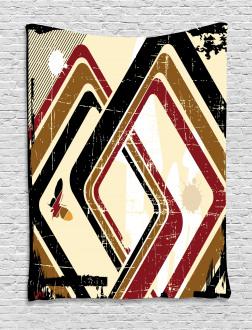 Retro Trippy Form Ruby Tapestry