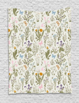 Vintage Garden Plants Tapestry