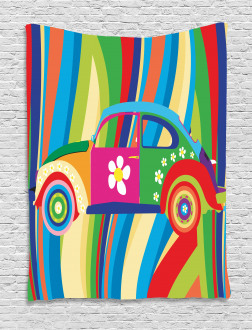 Hippie Style Classic Car Tapestry