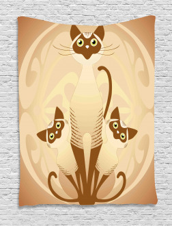 Three Asian Siamese Cats Tapestry