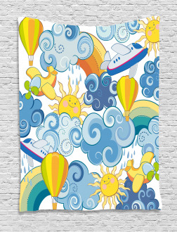 Sun Airplanes and Balloons Tapestry