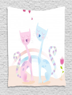 Cat Love Tulip Hearts Tapestry