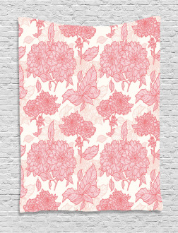 Pink Flowers and Leaves Tapestry
