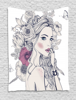 Butterfly Woman Portrait Tapestry