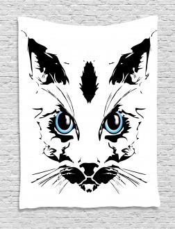 Big Cat Face Pet Sketchy Tapestry