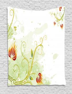 Retro Grunge Swirl Petal Tapestry