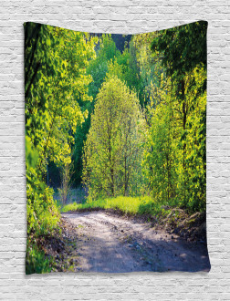 Path in Forest by Lake Tapestry