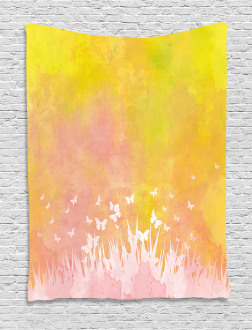 Flower Butterfly Colored Tapestry