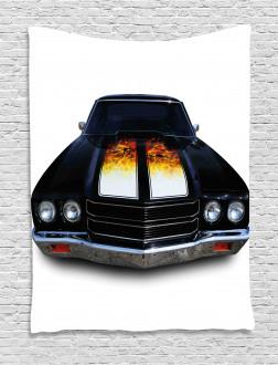 Vintage Retro Car Flame Tapestry