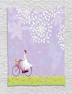 Girl Riding Bike Windy Tapestry