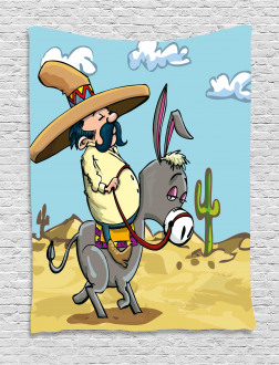 Mexican Man on a Donkey Tapestry