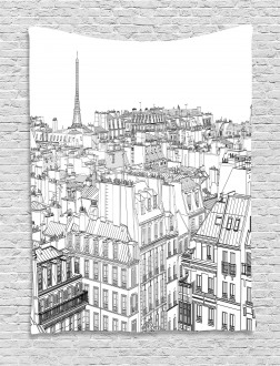 Roofs in Paris and Eiffel Tapestry