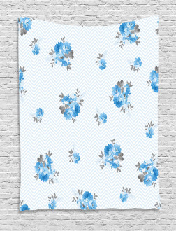 Blue Color Romantic Flower Tapestry