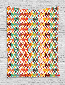 Hexagonal Shape Retro Tapestry