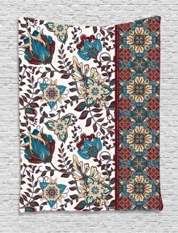 Ornate Floral Border Tapestry
