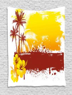 Palm Trees Sealife Ocean Tapestry