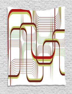 Wavy Abstract Shape Line Tapestry