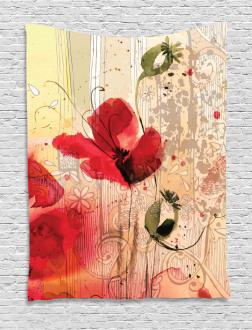 Retro Floral Design Tapestry