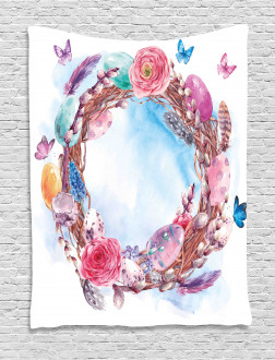 Floral Wreath Feathers Tapestry
