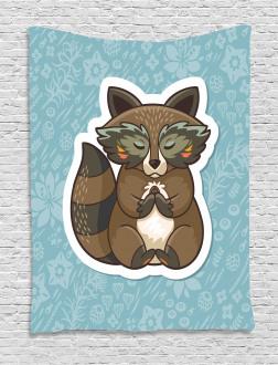 Cute Raccoon on Meadow Tapestry