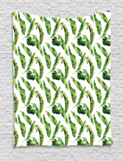 Watercolor Summer Leaves Tapestry