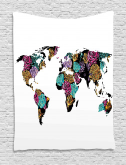 World Map Flowers Tapestry