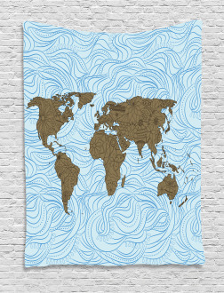 Map with Waves Tapestry